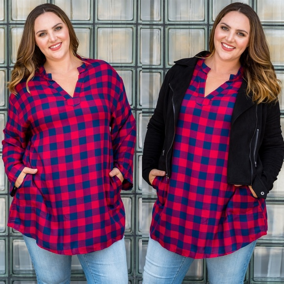 PLUS SIZE NAVY BLUE AND RED PLAID TUNIC/SHIRT Boutique